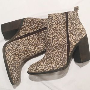 NWT [Lucky Brand] Leopard Print Leather Booties